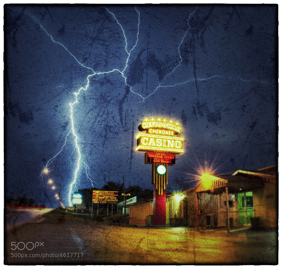 A bolt of lightning strikes very close to the Keetoowah Nation Casino in Tahlequah, Oklahoma