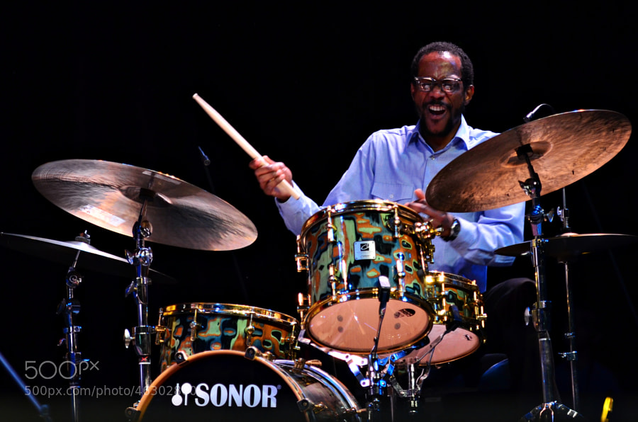 "The great drummer, Brian Blade, feeling it and catching the ""spirit""."