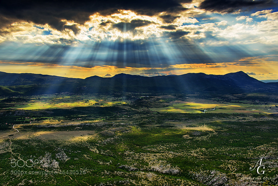 Dreamy afternoon on the Dinara mountain with the view towards the valley of Cetina river, which is around 1km lower