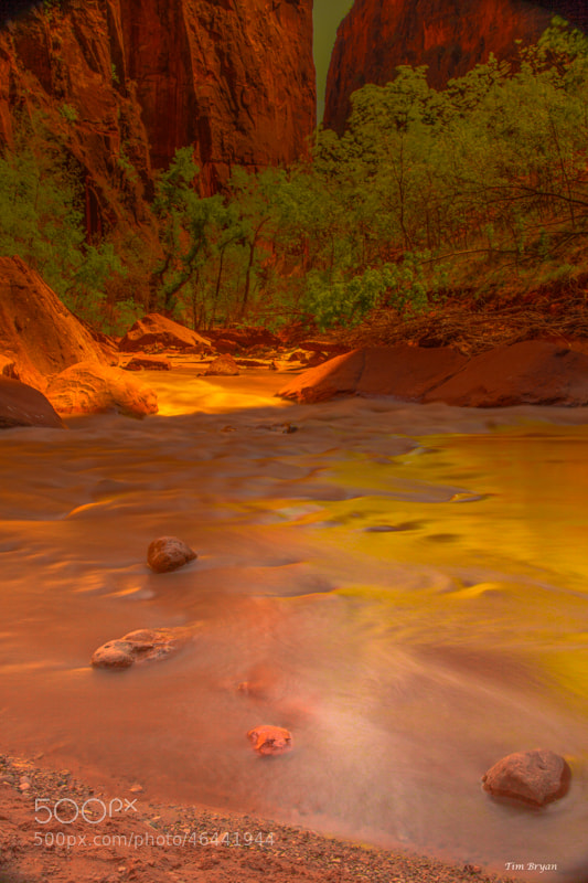 Long Exposure shot in the Canyon over the Virgin River