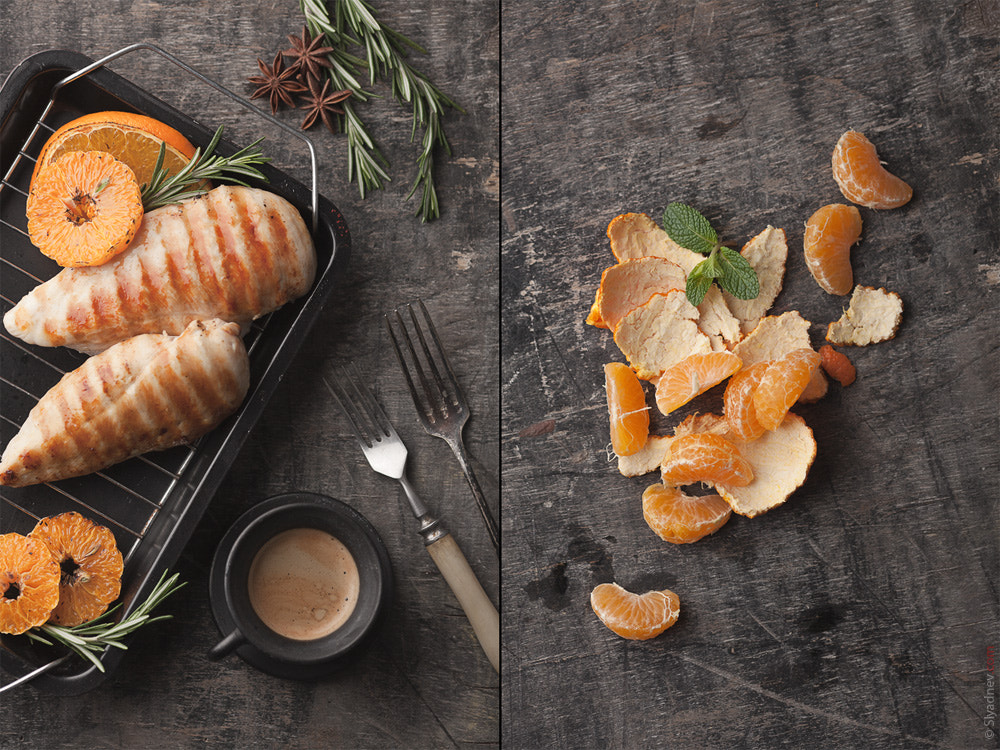 Photograph Grilled chicken breast with grilled tangerines by Aleksandr Slyadnev on 500px