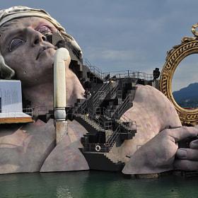 stage of the bregenzer festspiele bregenz, vorarlberg austria
