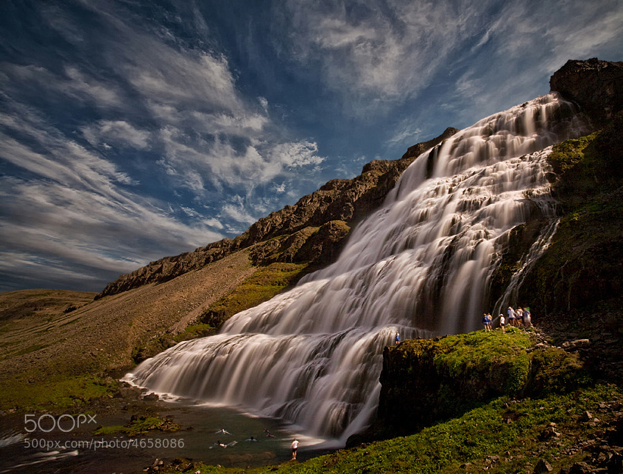 Dynjandi is the name of this waterfall, which is 100 m high. Dynjandi is in Arnarfjörður, NW of Iceland  This image is available on highest quality printing in multiple sizes : http://structor.pixu.com
