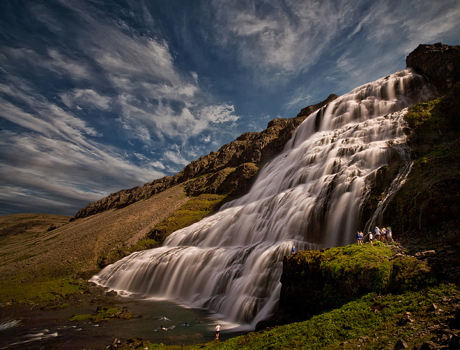Dynjandi is the name of this waterfall, which is 100 m high. Dynjandi is in Arnarfjörður, NW of Iceland