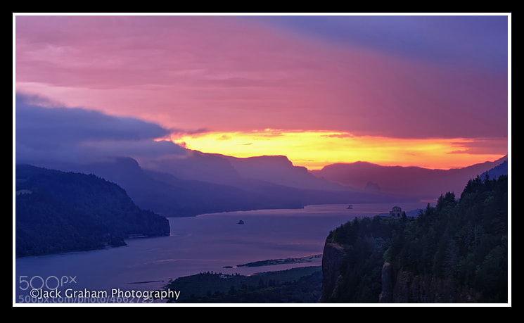 Columbia River Gorge, Oregon. Early morning heavy rain & thunderstorm--summer 2011