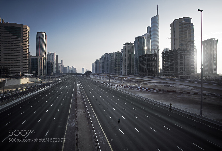 Empty Dubai except for one lone soul.