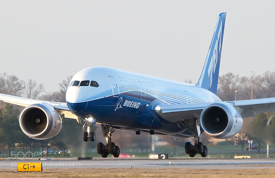"""Boeing 787-8 DreamLiner about to touch down on a historic first visit to Huntsville, AL. The visit, part of Boeing's Dream Tour, is so that Boeing employees in Huntsville can see the plane they helped design. This plane is the third 787 built and still carries the """"Experimental"""" designation."""