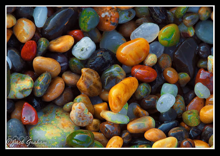 Pebbles on a beach in Northern California