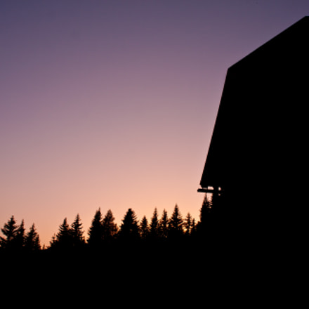 sunset on the hut