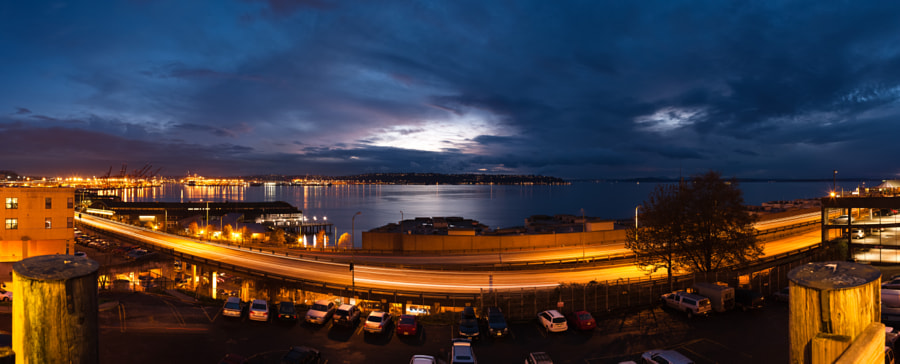 A 6 shot panorama of the Puget Sound from the stairway going up to Pike Place Market.