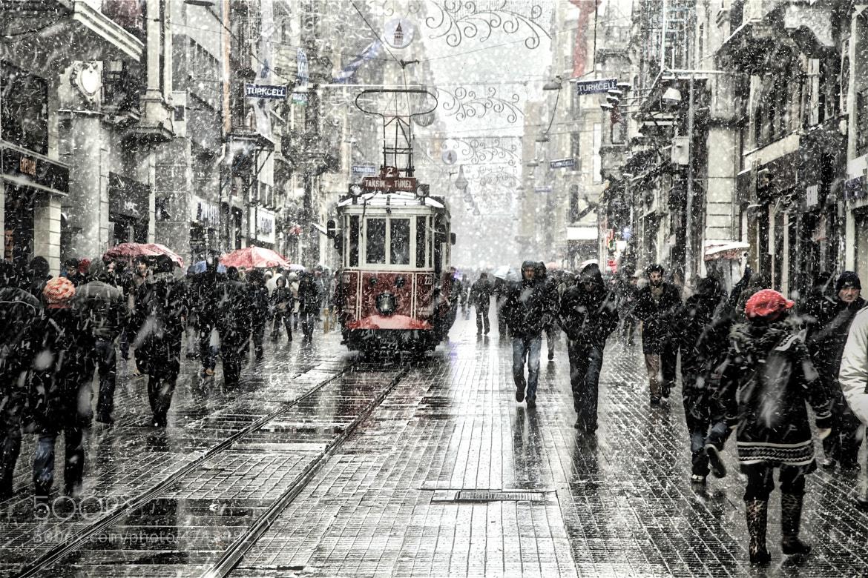 Photograph tram, beyoğlu, snowing by skywalker 50 on 500px