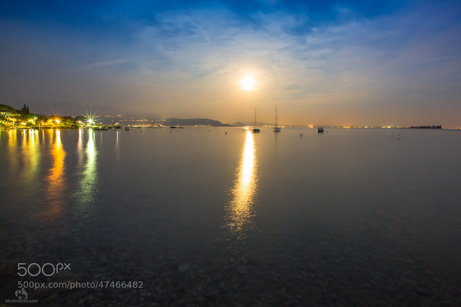 Photograph lights over lake gard by bb-pictures I bb-pictures I on 500px