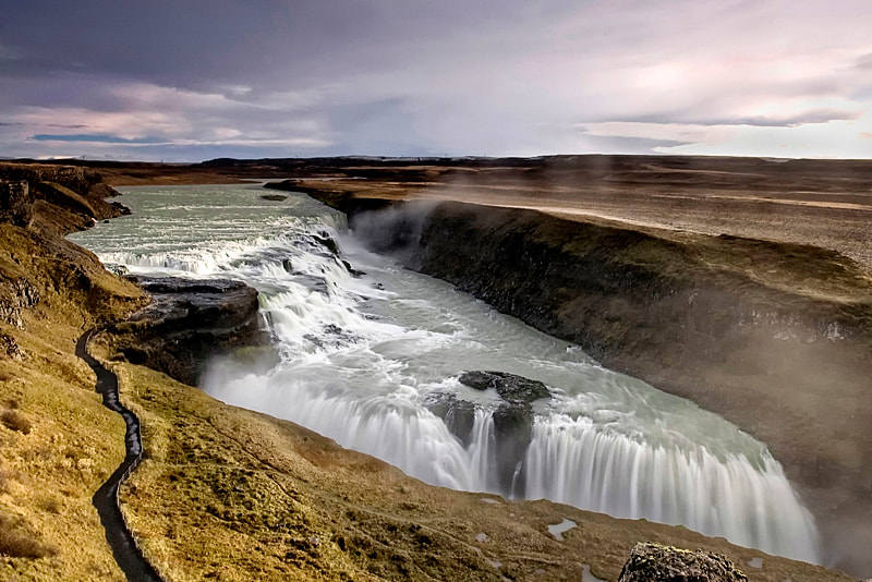 Gullfoss (English: Golden Falls) is a waterfall located in the canyon of Hvítá river in southwest Iceland.</p>
