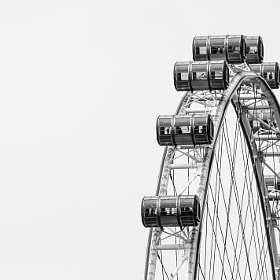 An abstract look at the Singapore Flyer from the Marina Bay Sands