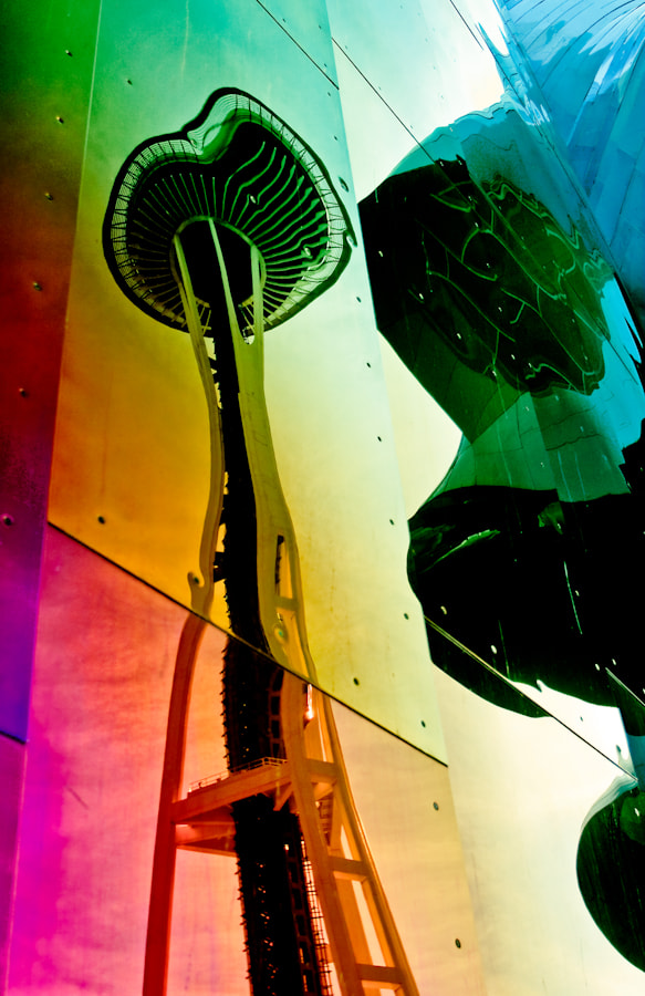 Photograph Seattle Space Needle Reflected in EMP by Mark Goff on 500px