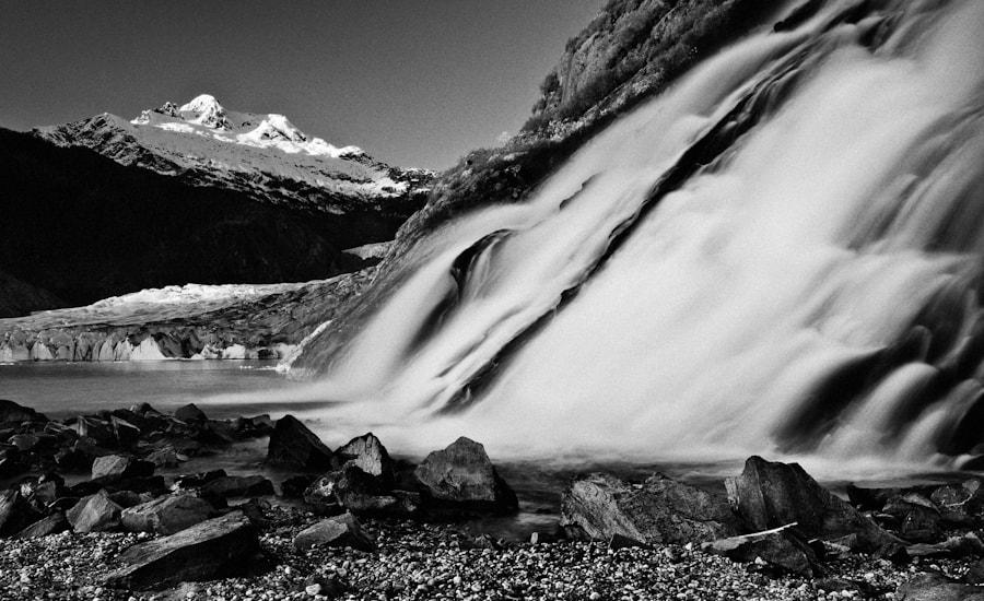 Waterfall at Mendenhall Glacier, Junea, AK, USA