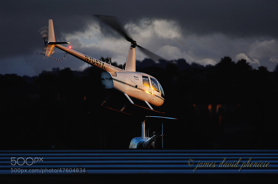 Robinson R44 departing from Palomar Airport at sunset.  Please do not use without permission or compensation.    © James David Phenicie  All Rights Reserved.