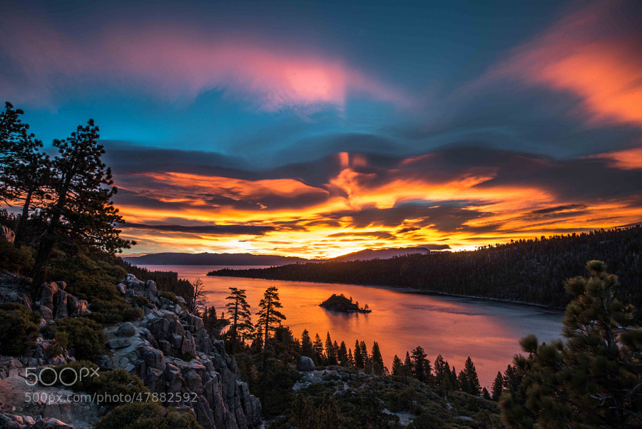 Day breaks on Emerald Bay Lake Tahoe