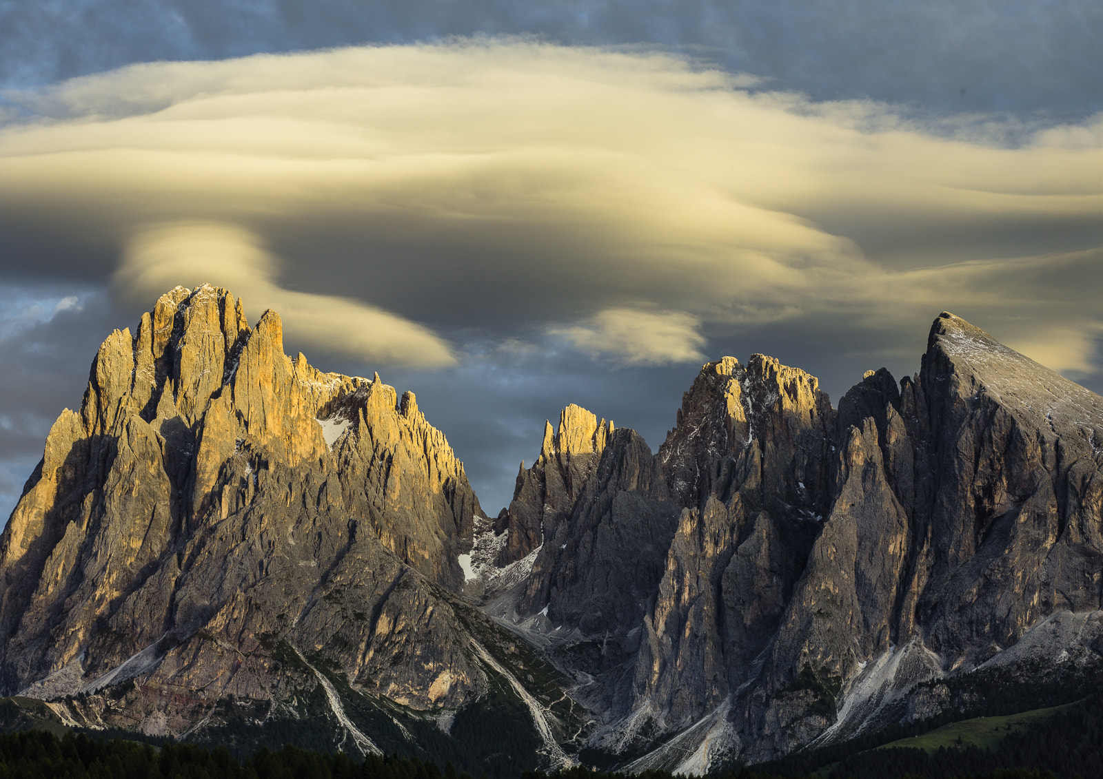 Photograph Sassolungo with Lenticular Clouds by Hans Kruse on 500px