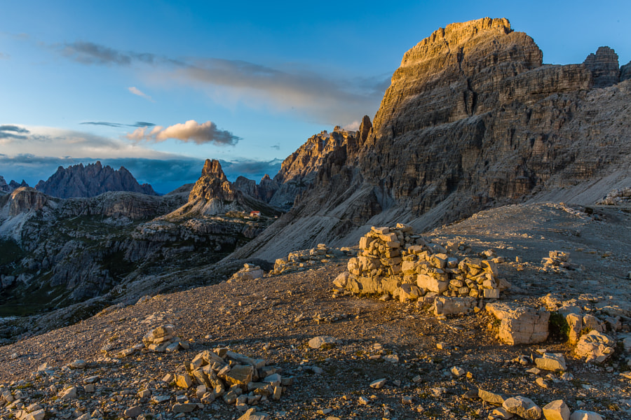 This photo was shot at the pass next to Tre Cime di Lavaredo in an altitude of 2450 meters. In the background we see the Drei Zinnen Hütte refugio.