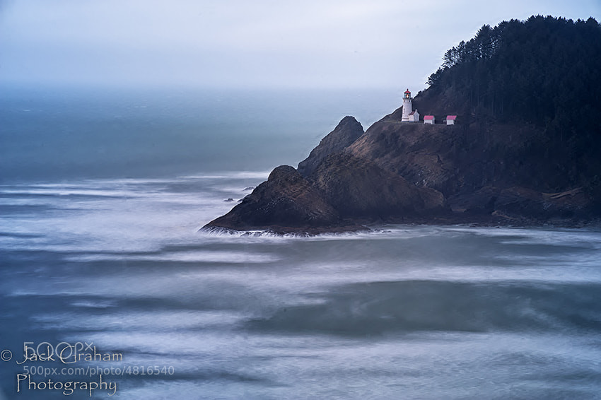Winter view of an iconic Lighthouse on the Oregon Coast (Haceta Head LH)