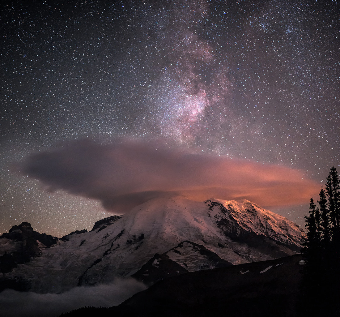 Photograph Milky Way over Mt. Rainier by Matt Sahli on 500px