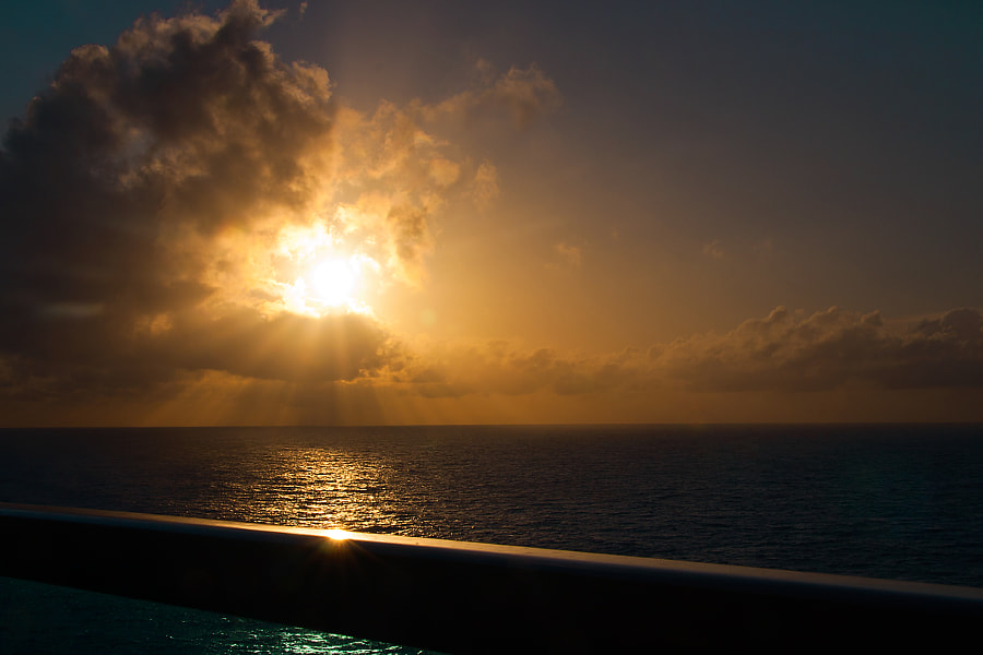 An early sunset heading back to LA - shot taken from our balcony on the 15th deck of the Golden Princess
