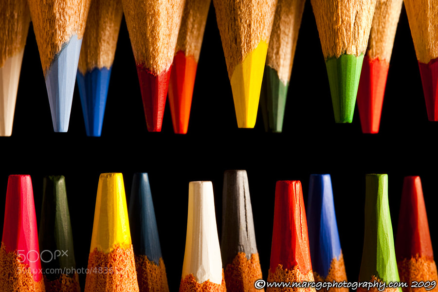 This painting pencil tips were arranged on a black background to emphasize their colors and shape. This photograph was created to use on children room decoration but I think you can use almost any place.
