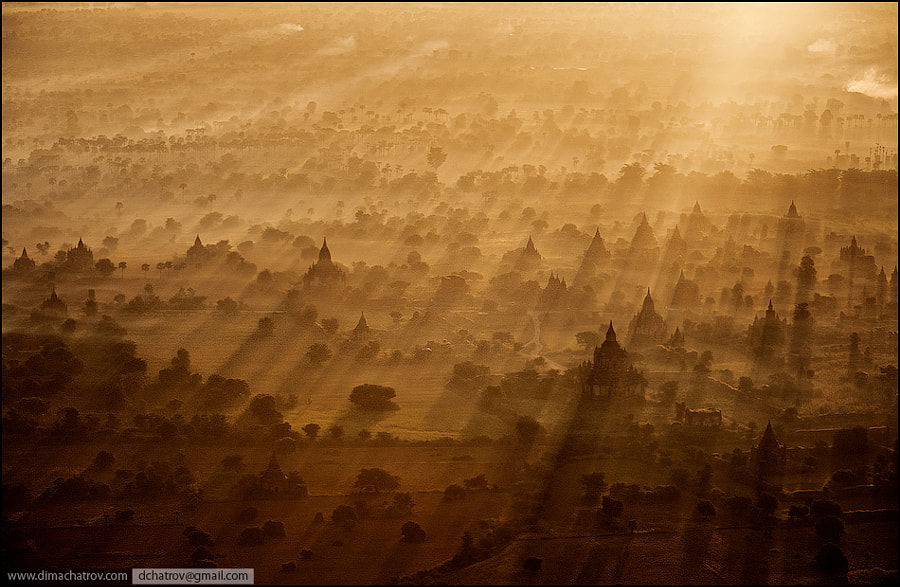 """That shot was taken in Bagan (Myanmar) from baloon about two months ago during our """"Photoplanet"""" master-classes. God bless the Light and mysty surroundings! :)"""