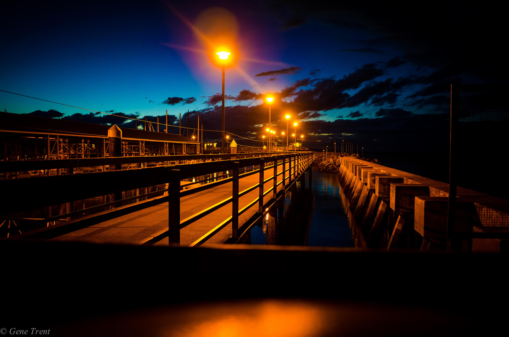 Photograph Pier at night by Gene Trent on 500px