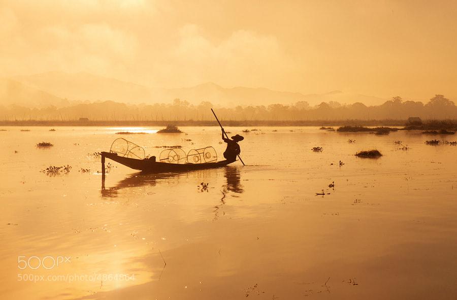 A fisherman on lake Inle, Burma