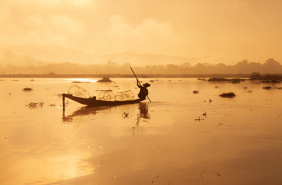 A fisherman on lake Inle, Burma