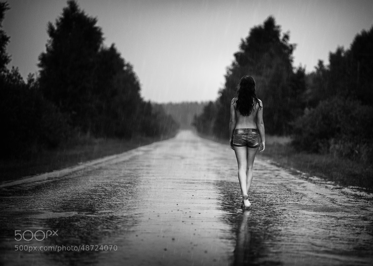 Photograph raining woman (b&w) by Evgenij Frolov on 500px