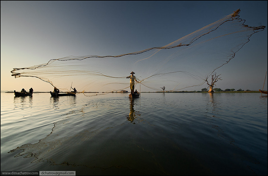 """There is one more shot from Myanmar reality. Those guys are fishing with these type of """"spyder nets"""" on every day basis like their grandfathers did, trying to catch something for families..."""