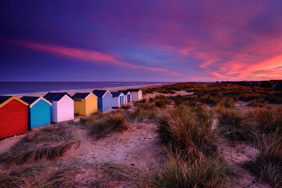 Beach Hut Sunset at Southwold