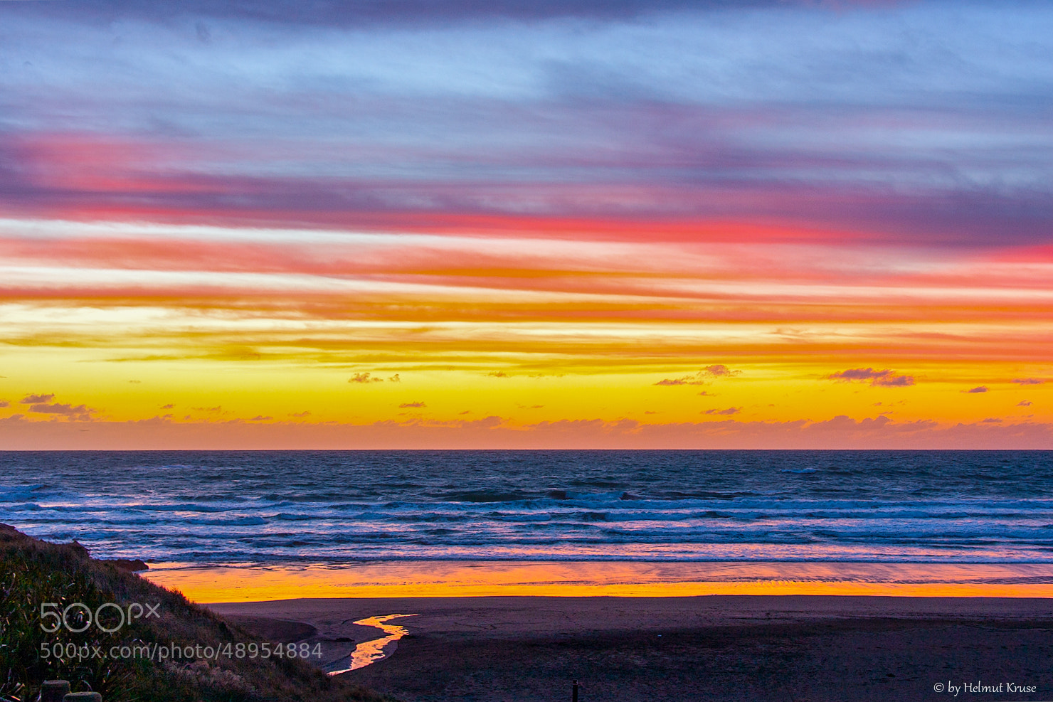 Photograph Colored Sky after sunset at the beach, New by Helmut Kruse on 500px