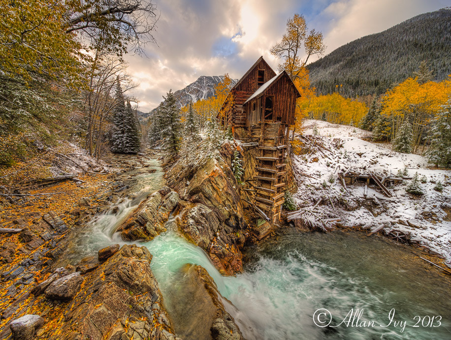 "Photograph ""Crystal Mill, Fall Colors & Snow"" Crystal River, Colorado by Allan Ivy on 500px"