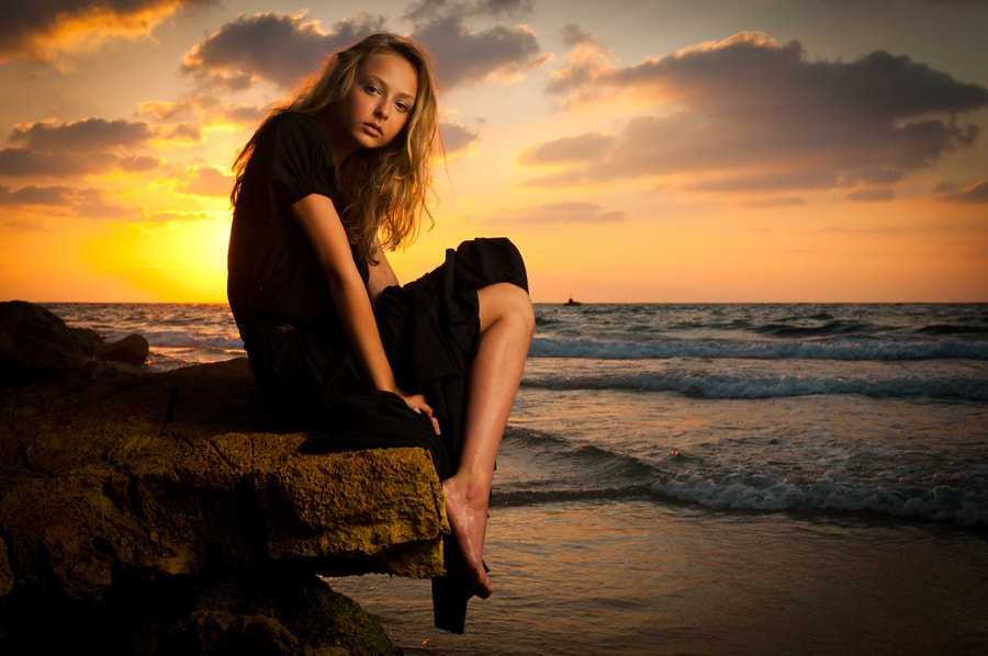 Photograph Sunset girl by Tomer Jacobson on 500px