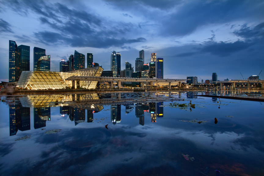 Photograph Singapore City Skyline at Blue Hour by David Gn on 500px