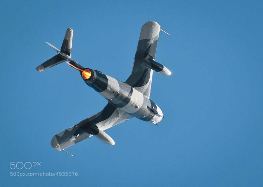 MIG 17  of the Black Diamond (Formerly Heavy Metal) Jet Team,  climbing on afterburner the 2011 Great Georgia Airshow