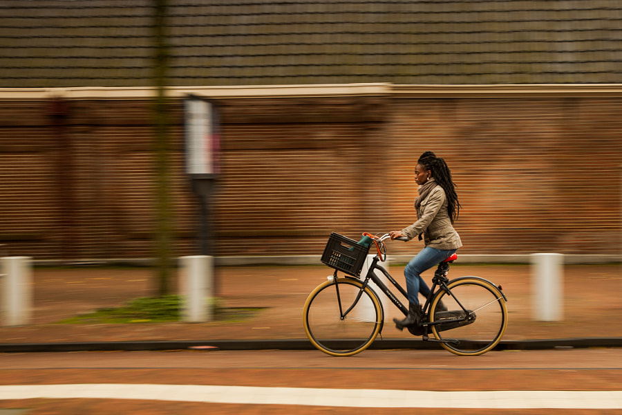 Woman with a city bike