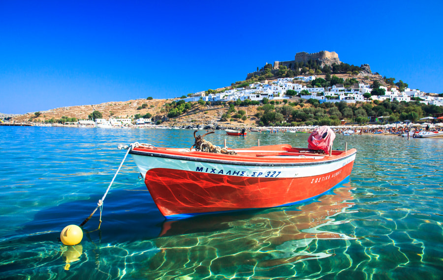 Red Boat at Lindos by Ryan Thomson on 500px.com