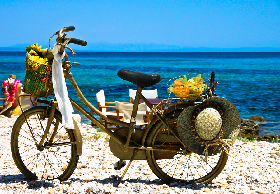 A bike just siting there on the beaches of Zakynthos, Greece