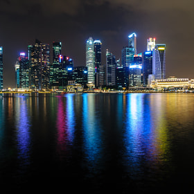 Downtown Singapore lights from Marina Bay Sands