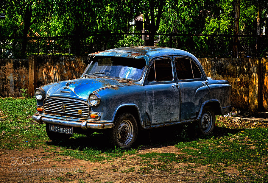 Digital HDR color image of the Hindustan Ambassador Classic vintage automobile (Delhi, India)