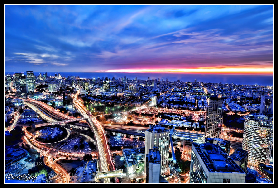Photograph Tel Aviv Skyline at Sunset by Or Many on 500px