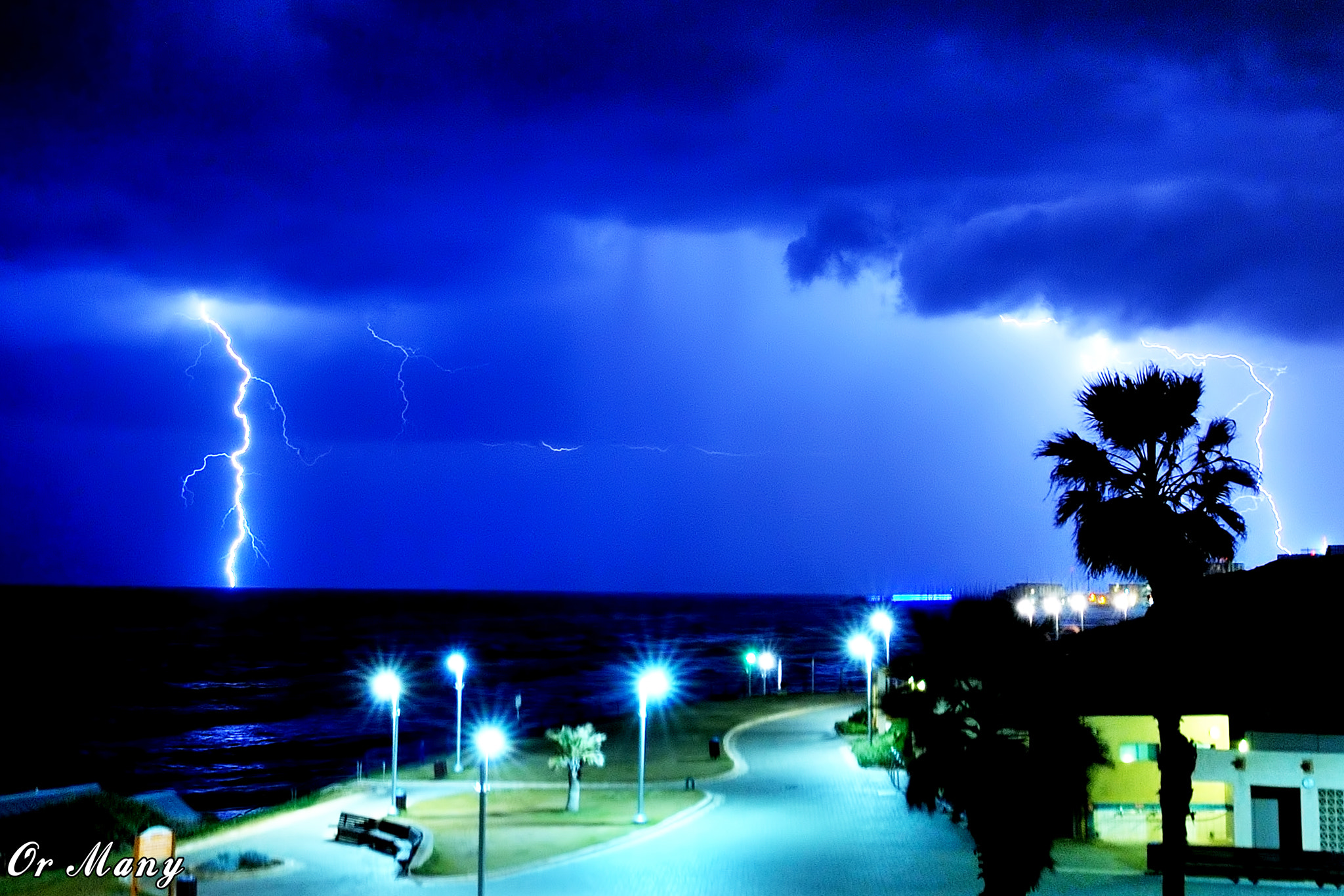 Photograph Lightning Storm - Tel Aviv - Israel by Or Many on 500px