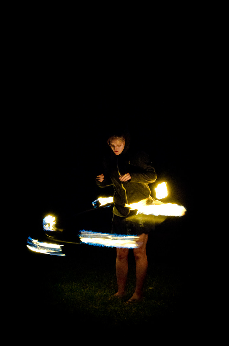 Photograph Hula hooping with flames by Andrew Cassidy on 500px