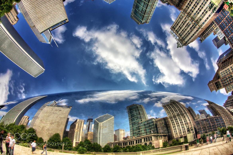 Photograph Chicago Skyline Cloud Gate Bubble by Daniel Peckham on 500px