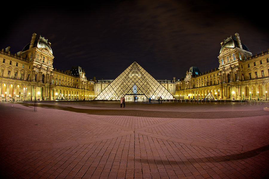 A fisheye panorama of The Louvre.